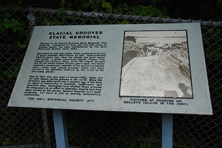Glacial Grooves descriptive sign at Kelleys Island Ohio